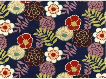 陶瓷印花紙- 和風花卉 (深紫色)