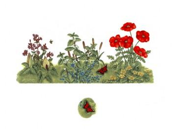 陶瓷印花圖案- 蝴蝶百花園