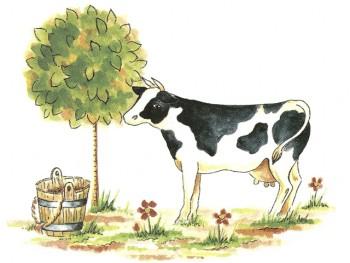 陶瓷印花圖案-小乳牛  (2件)
