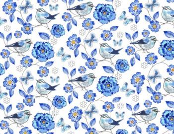 陶瓷印花紙- 麻雀 (藍色)