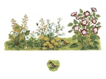 陶瓷印花圖案- 小鳥百花園