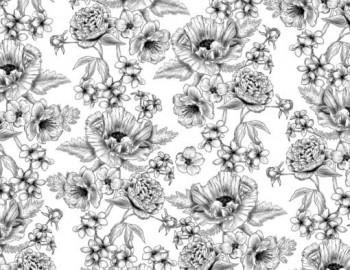 陶瓷印花紙- 大罌粟花 (黑白色)