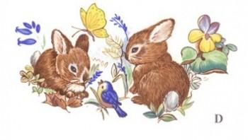 陶瓷印花圖案-兔仔與蝴蝶 6件