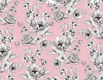 陶瓷印花紙- 大罌粟花 (粉紅色)